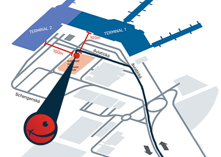 Schématická mapa Smile Parkingu na letišti Václava Havla Praha