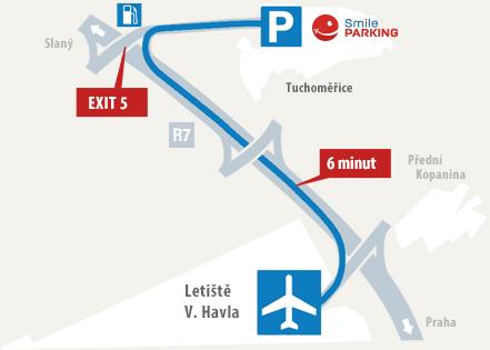 Schématická mapa Smile Parkingu u letišti Václava Havla Praha